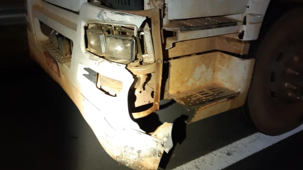 Carreta de farelo de soja atingida no acidente (Foto: PRF)