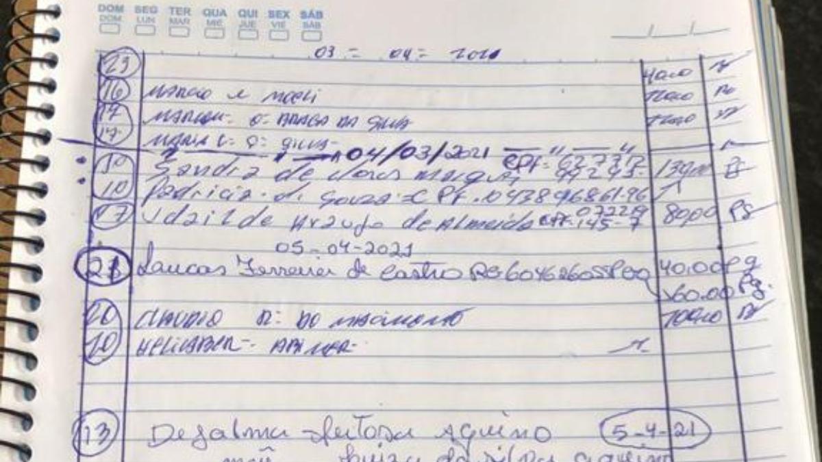 Caderno utilizado pelo suspeito (Foto: Divulgação/Polícia Civil)