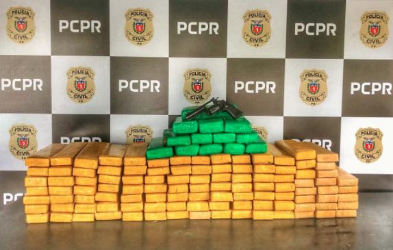 Droga apreendida pela Polícia Civil do Paraná com o suspeito (Foto: Divulgação)