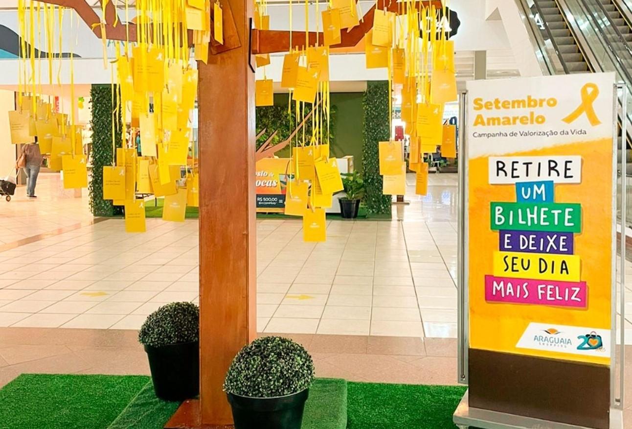 Árvore da Vida: ação em shopping de Goiânia reforça campanha do Setembro Amarelo