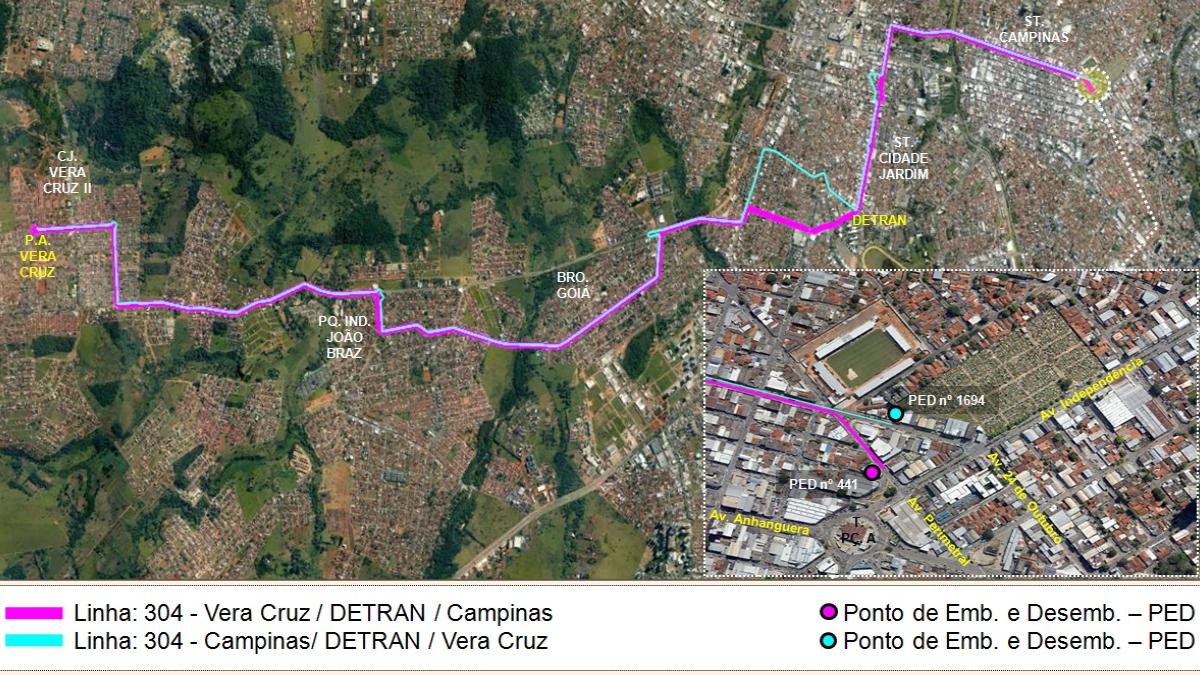 Nova linha de ônibus ligará bairro Vera Cruz ao Detran e ao Setor Campinas: entenda