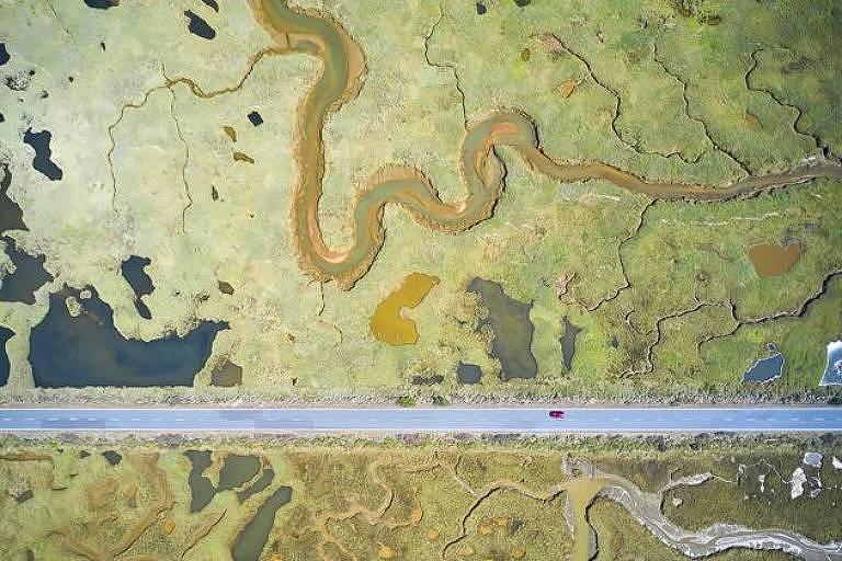 Imagem mostra a linha reta de uma estrada cortando as curvas de uma paisagem pantanosa que abriga mais de uma centena de espécies de pássaros - Javier Lafuente/WPY